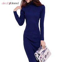AKSLXDMMD  Women Dress Autumn And Winter Sweater Dresses Slim Turtleneck Long Knitted Dress Sexy Bodycon Robe dress D019