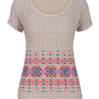 Crochet Stitch Ethnic Print Tee - Multi