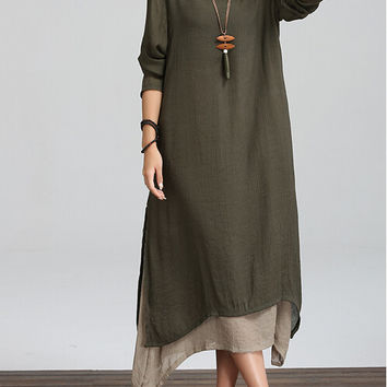 Spring and Winter Dress Loose Waist Long Sleeve Women Dress Plus Size Vintage Dress Casual Linen O Neck Floor Length Maxi Dress
