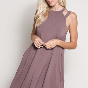Cutout Halter Shift Dress