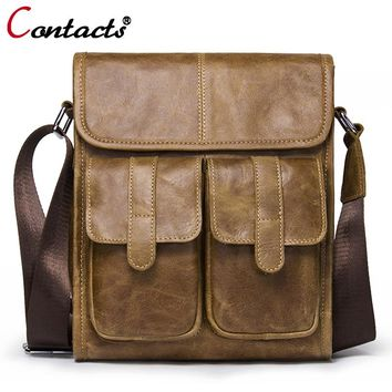 CONTACT'S Genuine Leather Men bags Fashion Brand Designer Handbags Shoulder Bags Vintage Retro Men Messenger Bags Briefcase