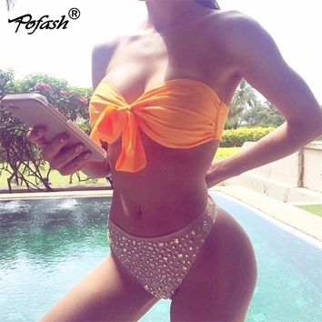 Pofash Sexy Bow Lae Up Bikinis Sequins Women Bandage Bodysuits Set  Bra Off Shoulder  2pieces Bodysuit 2018 Swimwear Female