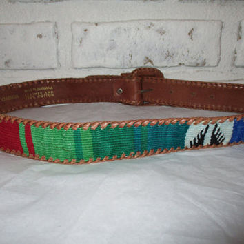 Vintage Woven Guatemalan Omega Belt Southwestern Woven Fabric Cloth Tribal Belt Colorful Leather Belt Size Medium