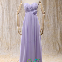 Sweetheart Lilac chiffon with flowers pleated lace up back bridemaid dresses
