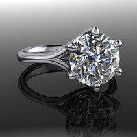 Forever Brilliant Moissanite Solitaire Engagement Ring 2.5 CTW
