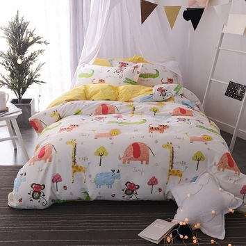 Svetanya Zoo Print Sheet Pillowcase Duvet Cover Sets Twin Full Queen Size Bedlinen Kids Bedding Set 100% Cotton Cat Fox Owl etc.