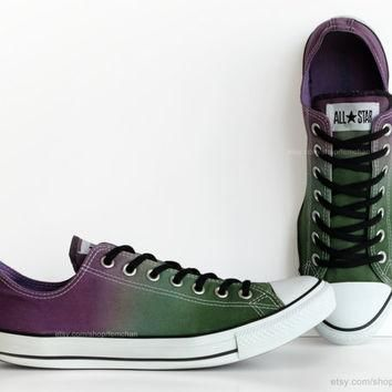 Purple, green ombr¨¦ dip dye Converse, All Stars, low tops, upcycled sneakers, transfor