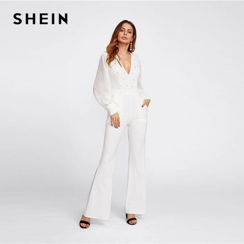 SHEIN Deep V Neck White Jumpsuit Women Mid Waist Plunging Pearl Embellished Bishop Sleeve Elegant Flared Jumpsuit
