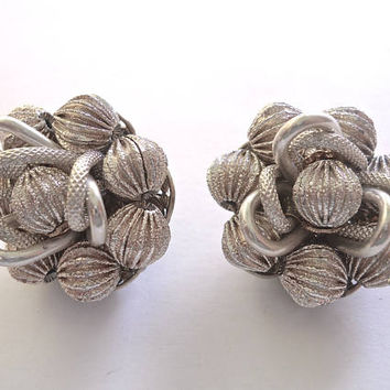 Silver Tone Cluster Earrings, ALICE CAVINESS, Textured, Signed Vintage