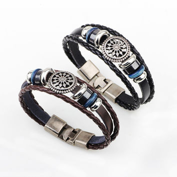 9 styles Hot Sale Bracelet Men Women Handmade Braid Genuine Leather bracelet Wrap Charm Skull Bracelet Bangle Men Jewelry YW481