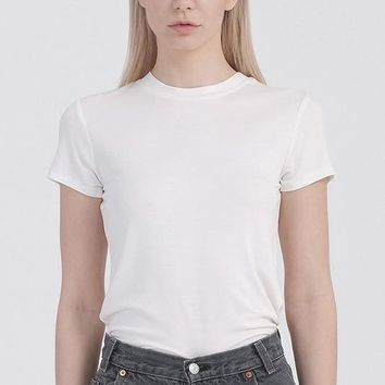 Basic Scoop Neck Tee -  Off White
