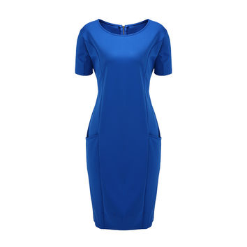 Blue Zip-Back Double Pockets Plus Size Midi Dress