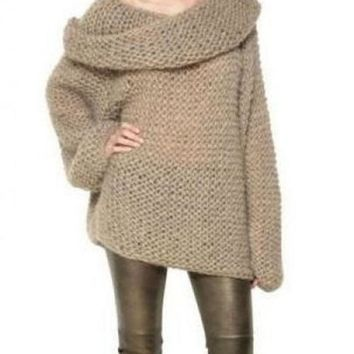 CREYUG3 Camel Off the Shoulder Long Sleeve Chunky Sweater