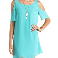 Cold Shoulder Chiffon Shift Dress by Charlotte Russe - Turquoise