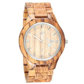 Zebra Wooden Watch Large Size Island Map Japan Movement