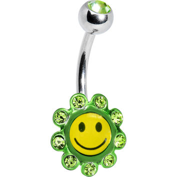 Peridot Green Gem SMILEY FACE Logo Flower Belly Ring