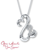 Open Hearts Necklace Diamond Accents Sterling Silver