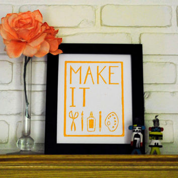 Linocut Print Make It Craft Poster 8 x 10 inches by CursiveArts