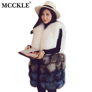 MCCKLE Women Winter Fox Faux Fur Vest Elegant Mix Color Ladies Fluffy Rex Rabbit Fur Jackets Woman Fake Mink Fur Coats Outerwear
