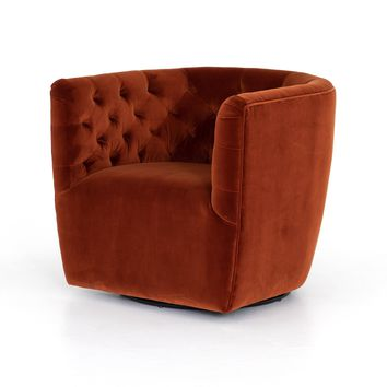 EMORY TUFTED SWIVEL CHAIR - SAPPHIRE RUST