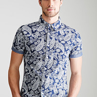 Chambray-Trimmed Paisley Shirt