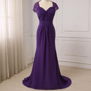 New Arrival Purple Mother of the Bride Dresses Cap Sleeve Pleats Body Chiffon Formal Party Mother of the Groom Dresses