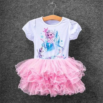 Hot Girl Children Baby Clothes Elza Dress For Kids Baby Party Dresses Custome Vestidos Summer 2017 Cospaly Elsa Anna 2-10T Dress