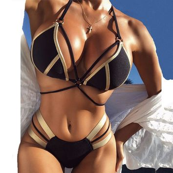String Bikini Push Up 2018 Sexy Bronzing Halter Swimwear Female Swimsuit Bathing Suit Women Bandeau Brazilian Thong Bikinis Set