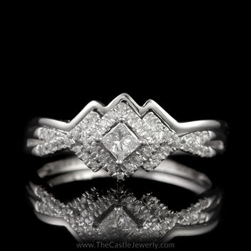 Crown Collection 1/4cttw Princess Cut Bridal Set with Shadow Band in 10K White Gold