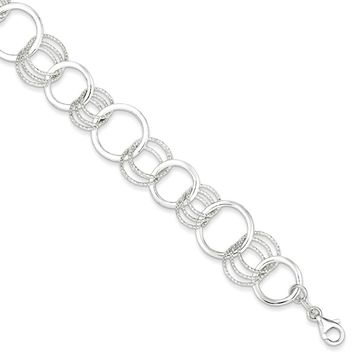 Sterling Silver 7.75 Inch Polished and Textured Circle Link Bracelet