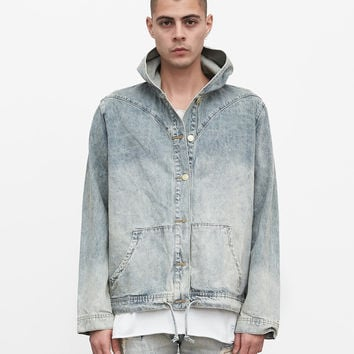Denim Hoodie in Light Sand Wash