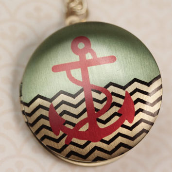 Sailor Anchor Image Locket Necklace in Gold, Aqua Blue, Red and Black, Long Chain, Navy Pendant, Round Nautical Jewellery, Zig Zag, Zigzag