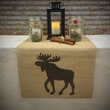 "Burlap Table Runner 12"", 14"" or 15"" wide with a Moose on each end"