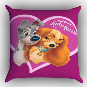 Lady and The Tramp Z1097 Zippered Pillows  Covers 16x16, 18x18, 20x20 Inches