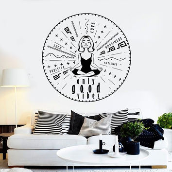 Vinyl Wall Decal Only Good Vibes Yoga Meditation Stickers Unique Gift (ig4333)