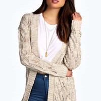 Abbey Chunky Mixed Stitch Cardigan With Front Pocket