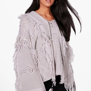 Lucy Boutique Lace Up Tassel Jumper   Boohoo