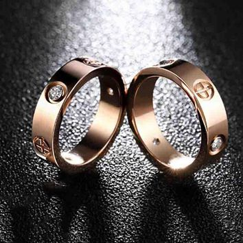 Cartier Trending Cute Lovers Rings Women Men Ring Rhinestone Ring Rn I