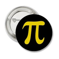 Yellow pi symbol on black background buttons from Zazzle.com