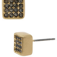 Kenneth Cole New York Gold Tone and Crystal Pave Square Stud Earrings