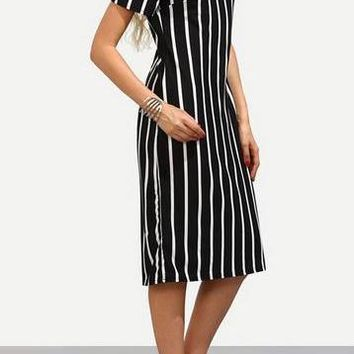 A| Chicloth Stripe Short Sleeve Midi Shift Dress
