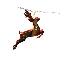 Copper Electroplated LED Lighted Chain - Deer Shape String Lights 63-in