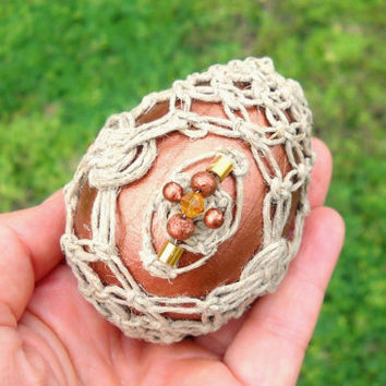 Metallic copper macrame egg with Celtic knots & beaded medallions - natural hemp macrame - includes egg stand and optional hanging line