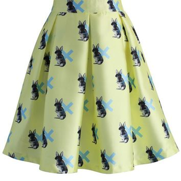 My Bunny Pleated Skirt in Yellow