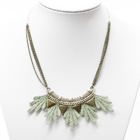 Lace necklace - Aura - Iridescent mint with bronze & silver