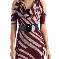belted cowl neck dress $30.50 in BLKGRY BRGTPE - New Dresses | GoJane.com
