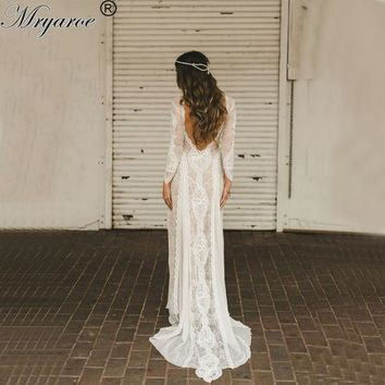 robe de mariee Boho Chic Wedding Dress 2017 Vintage Lace Bohmian Open Back Lace Long Sleeves Dresses vestidos de novia