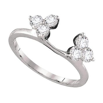 14kt White Gold Women's Round Diamond Ring Guard Wrap Enhancer Band 3/4 Cttw - FREE Shipping (US/CAN)