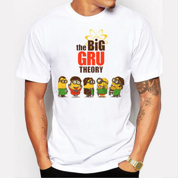 Asian Size The Big Gru Theory cartoon printed men t-shirt short sleeve casual tops hipster funny minion tee shirts