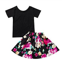 Kid Girls Clothing Set Girl Pure Black Color Short Sleeve Top T-Shirt+ Floral Skirt Outfit Set Clothes